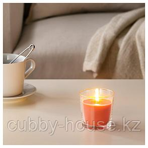 СИНЛИГ Ароматическая свеча в стакане, Персик и апельсин, оранжевый, 7.5 см, фото 2