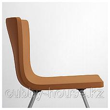 ЭКЕДАЛЕН / БЕРНГАРД Стол и 2 стула, белый, Мьюк золотисто-коричневый, 80/120 см, фото 3