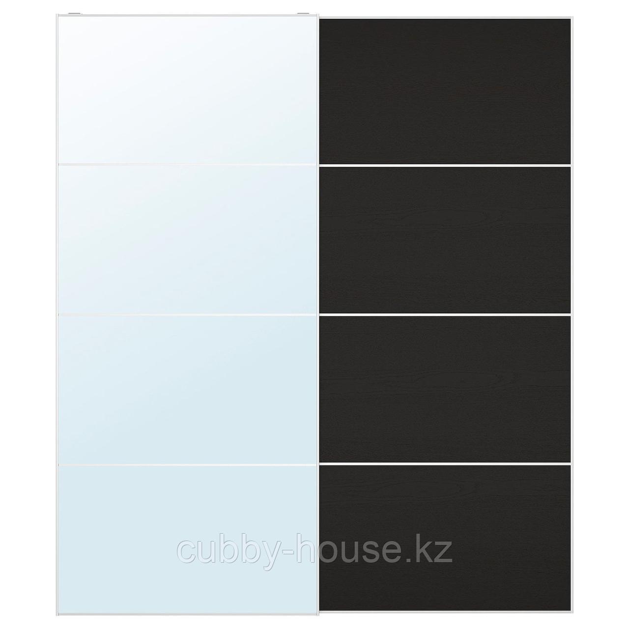 АУЛИ / МЕХАМН Пара раздвижных дверей, зеркальное стекло, под мореный ясень, черно-коричневый, 200x236 см