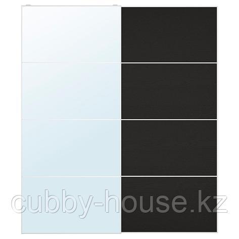 АУЛИ / МЕХАМН Пара раздвижных дверей, зеркальное стекло, под мореный ясень, черно-коричневый, 200x236 см, фото 2