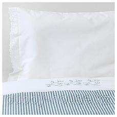 ГУЛСПАРВ Пододеяльник, наволочка д/кроватки, в полоску, синий, 110x125/35x55 см, фото 3