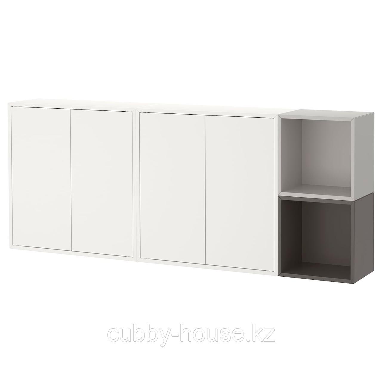 ЭКЕТ Комбинация настенных шкафов, белый, под беленый дуб, 175x25x70 см
