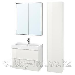 ГОДМОРГОН / ОДЕНСВИК Комплект мебели для ванной,5 предм., глянцевый белый, БРОГРУНД смеситель, 83 см, фото 2