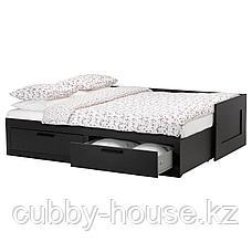 БРИМНЭС Каркас кровати-кушетки с 2 ящиками, черный, 80(160)x200 см, фото 2