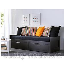 БРИМНЭС Каркас кровати-кушетки с 2 ящиками, черный, 80(160)x200 см, фото 3