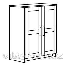 БРИМНЭС Шкаф с дверями, (белый, чёрный) 78x95 см, фото 2