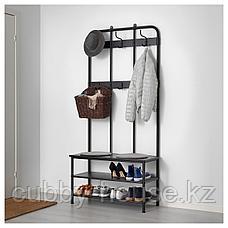 ПИННИГ Вешалка с секцией для обуви, черный, 193 см, фото 3