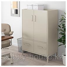 ИДОСЕН Шкаф с дверцами и ящиками, бежевый, 80x47x119 см, фото 3