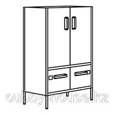 ИДОСЕН Шкаф с дверцами и ящиками, синий, 80x47x119 см, фото 2