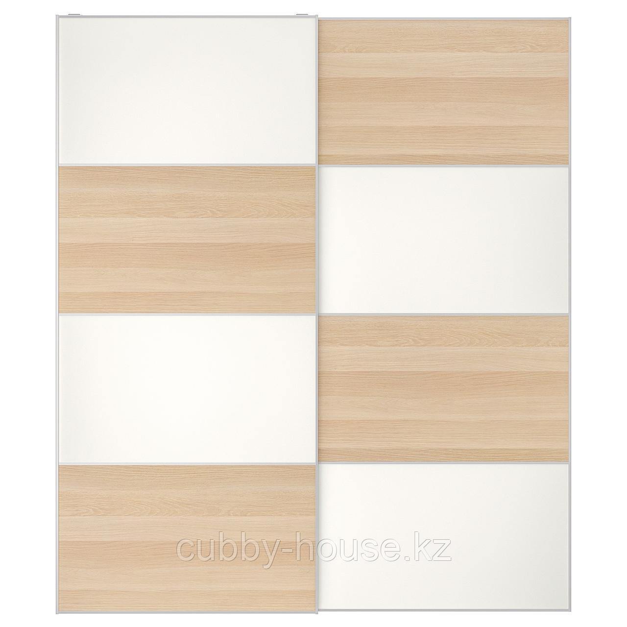 МЕХАМН Пара раздвижных дверей, под беленый дуб, белый, 150x236 см