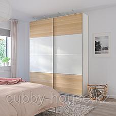 МЕХАМН Пара раздвижных дверей, под беленый дуб, белый, 150x236 см, фото 3