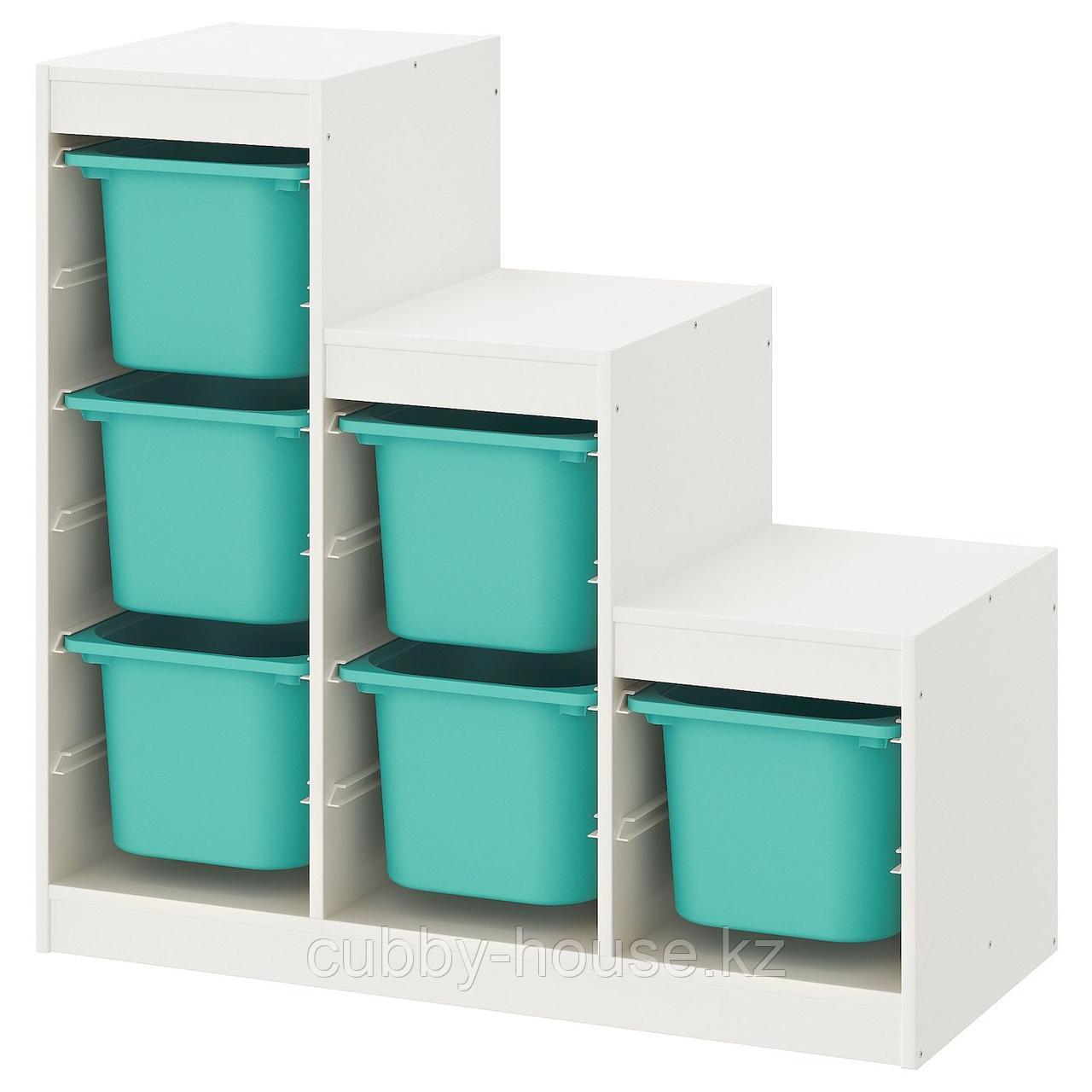 ТРУФАСТ Комбинация д/хранения+контейнеры, белый, 99x44x94 см