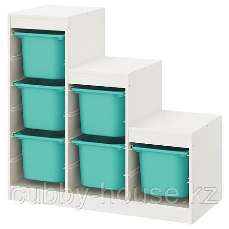 ТРУФАСТ Комбинация д/хранения+контейнеры, белый, 99x44x94 см, фото 2