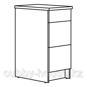 КНОКСХУЛЬТ Напольный шкаф с ящиками, серый, 40 см, фото 2