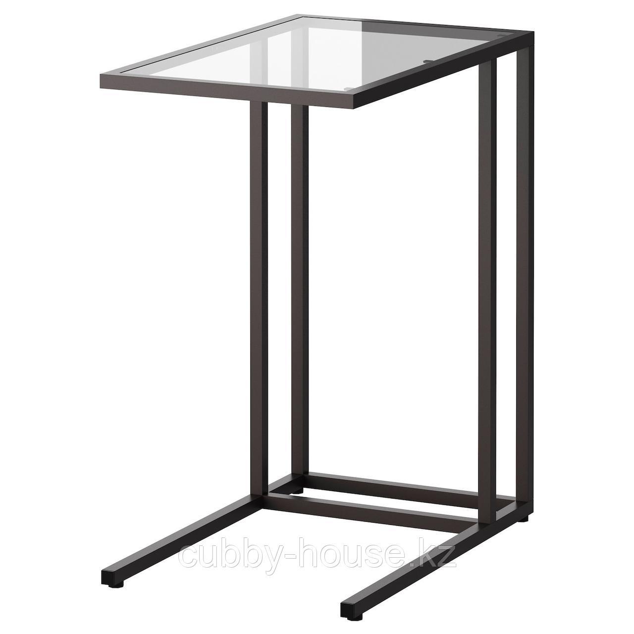 VITTSJÖ ВИТШЁ Подставка д/ноутбука, черно-коричневый/стекло35x65 см