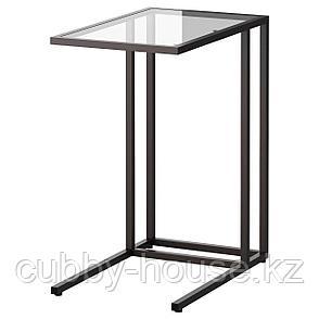 VITTSJÖ ВИТШЁ Подставка д/ноутбука, черно-коричневый/стекло35x65 см, фото 2