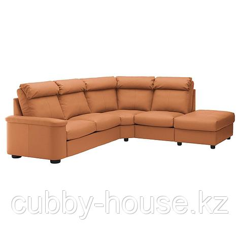 ЛИДГУЛЬТ 5-местный угловой диван, с открытым торцом, Гранн/Бумстад темно-коричневый, фото 2