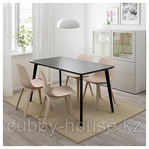 ЛИСАБО / ОДГЕР Стол и 4 стула, черный, бежевый, 140x78 см, фото 2