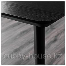 ЛИСАБО / ОДГЕР Стол и 4 стула, черный, бежевый, 140x78 см, фото 3