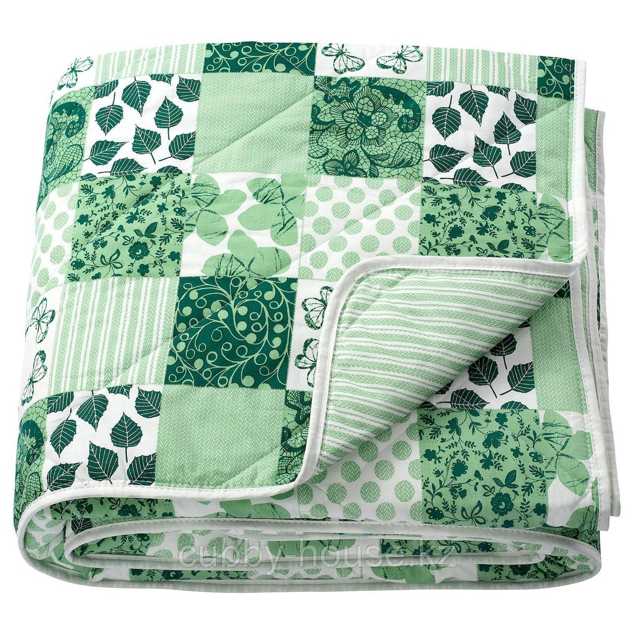 АКСВЕРОНИКА Покрывало, лоскутный, зеленый, 180x220 см