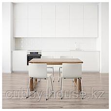 МОРБИЛОНГА / БЕРНГАРД Стол и 4 стула, коричневый, Мьюк белый, 140x85 см, фото 3