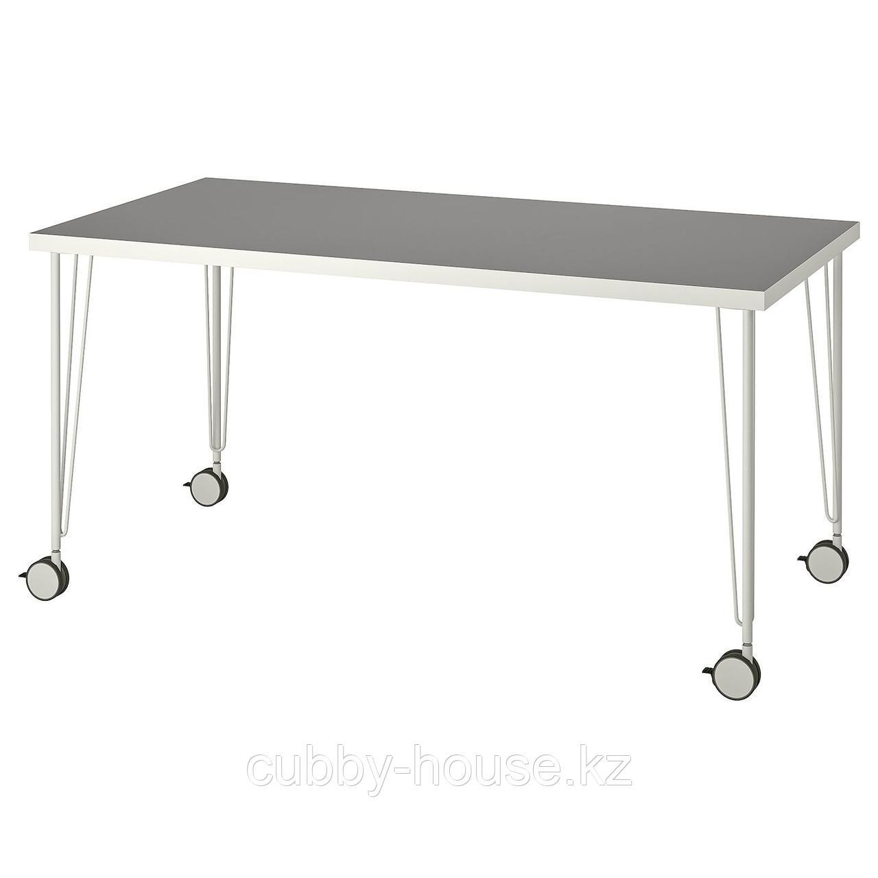 ЛИННМОН / КРИЛЛЕ Стол, зеленый, белый, 150x75 см