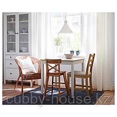 ЛЕРХАМН Стол, светлая морилка антик, белая морилка, 74x74 см, фото 3