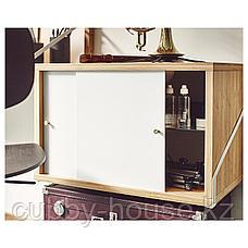 СВАЛЬНЭС Шкаф с 2 дверьми, бамбук, белый, 61x35 см, фото 3