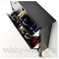 ХЕМНЭС Галошница, 4 отделения, черно-коричневый, 107x101 см, фото 3