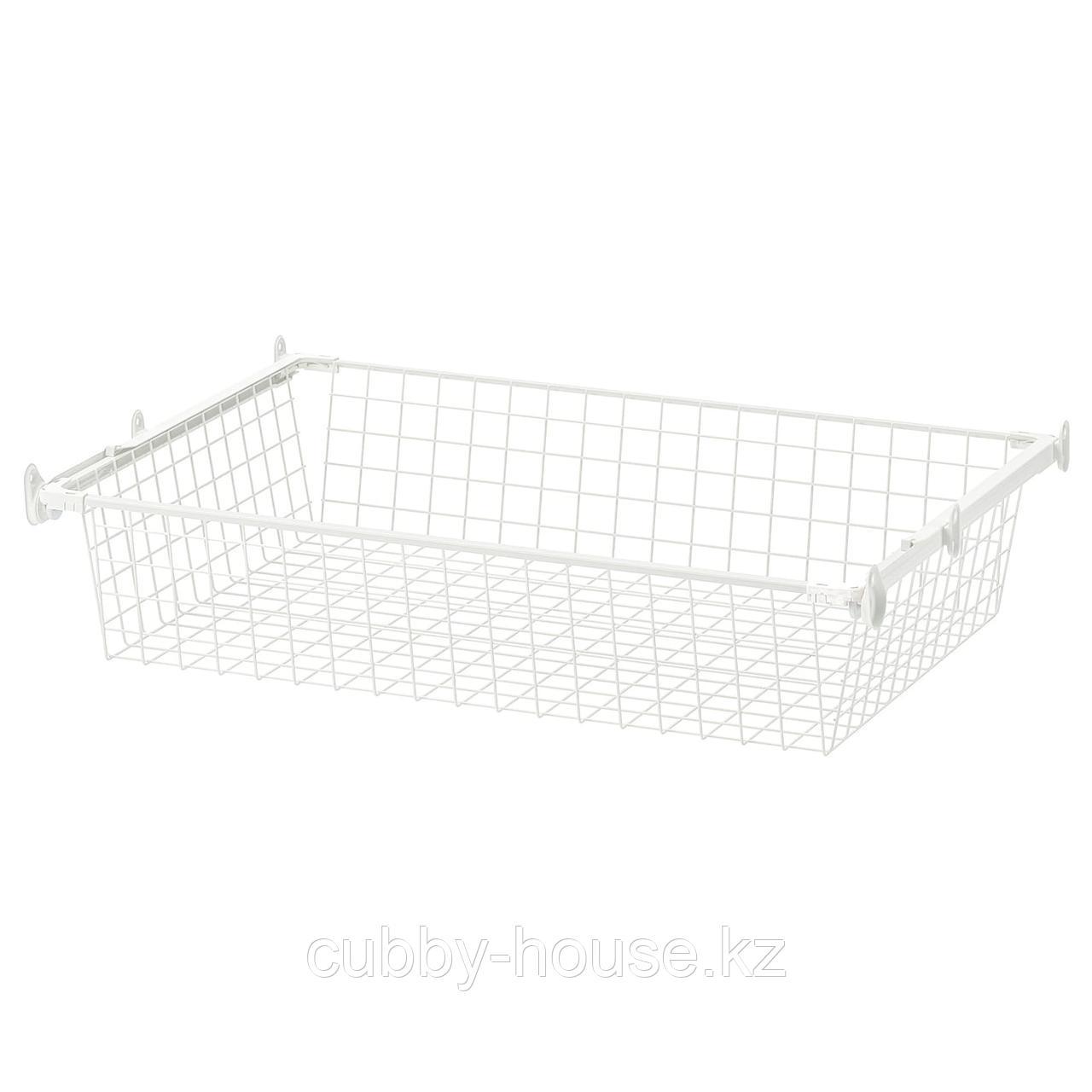 ХЭЛПА Проволочн корзина с направляющими, белый, 60x55 см