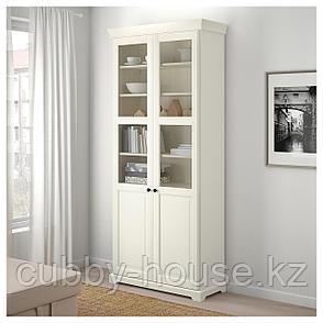 ЛИАТОРП Шкаф книжный со стеклянными дверьми, белый, 96x214 см, фото 2