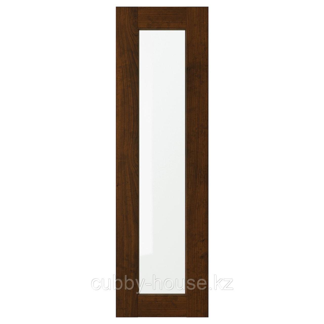ЭДСЕРУМ Стеклянная дверь, под дерево коричневый, 30x80 см