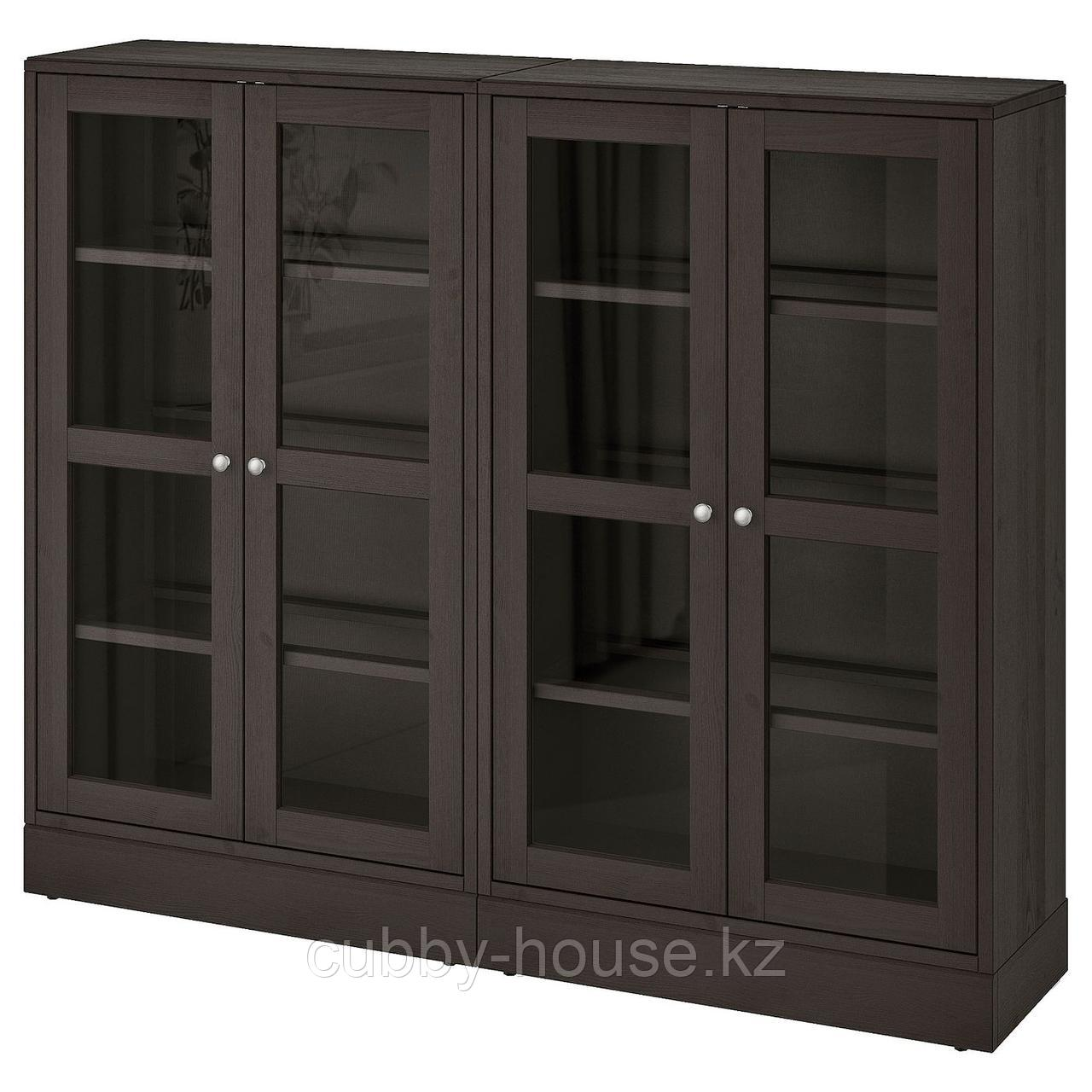 ХАВСТА Комбинация д/хранения+стекл дверц, серый, 162x37x134 см