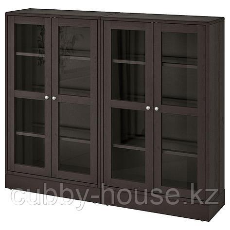 ХАВСТА Комбинация д/хранения+стекл дверц, серый, 162x37x134 см, фото 2