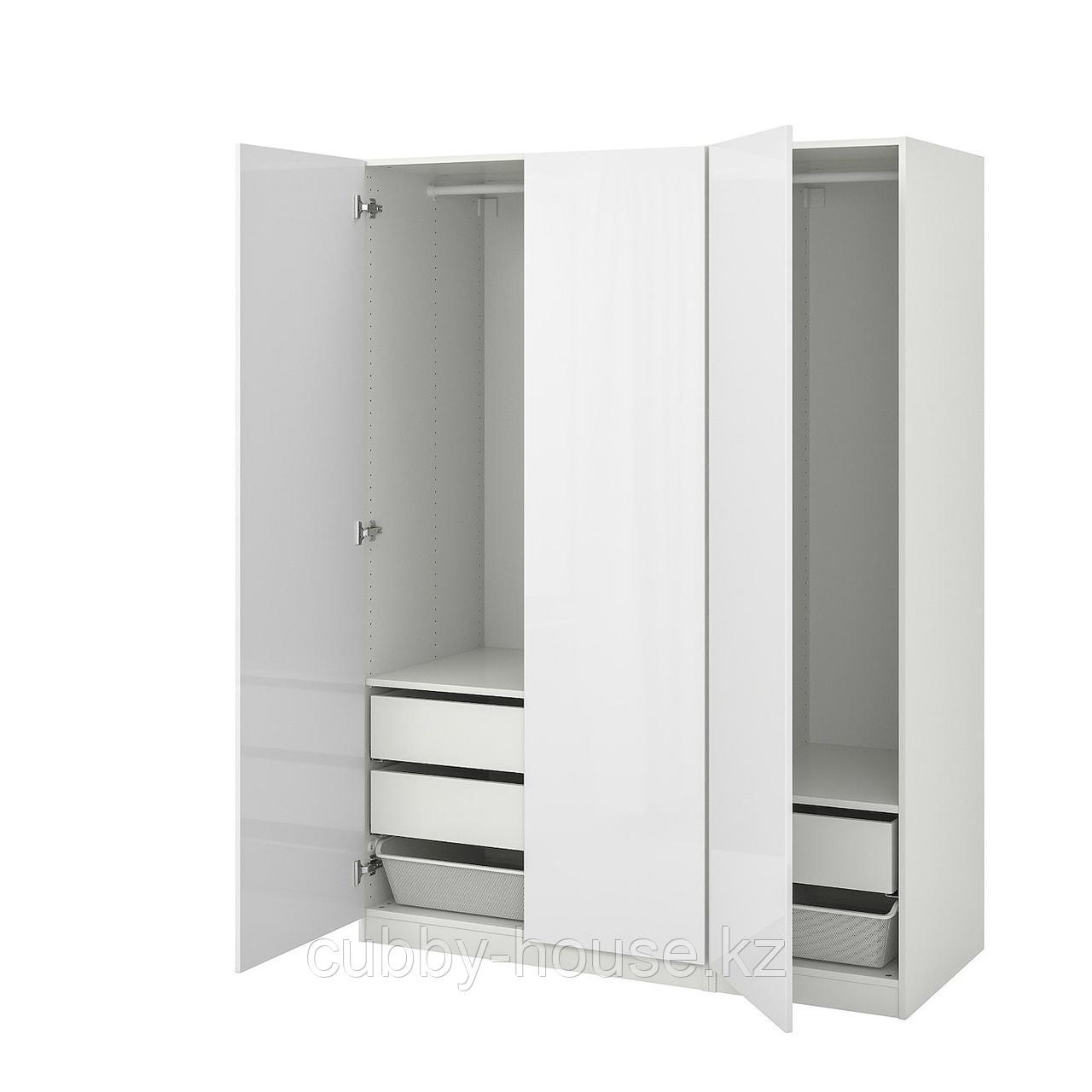 ПАКС Гардероб, белый, Фардаль глянцевый/белый, 150x60x236 см