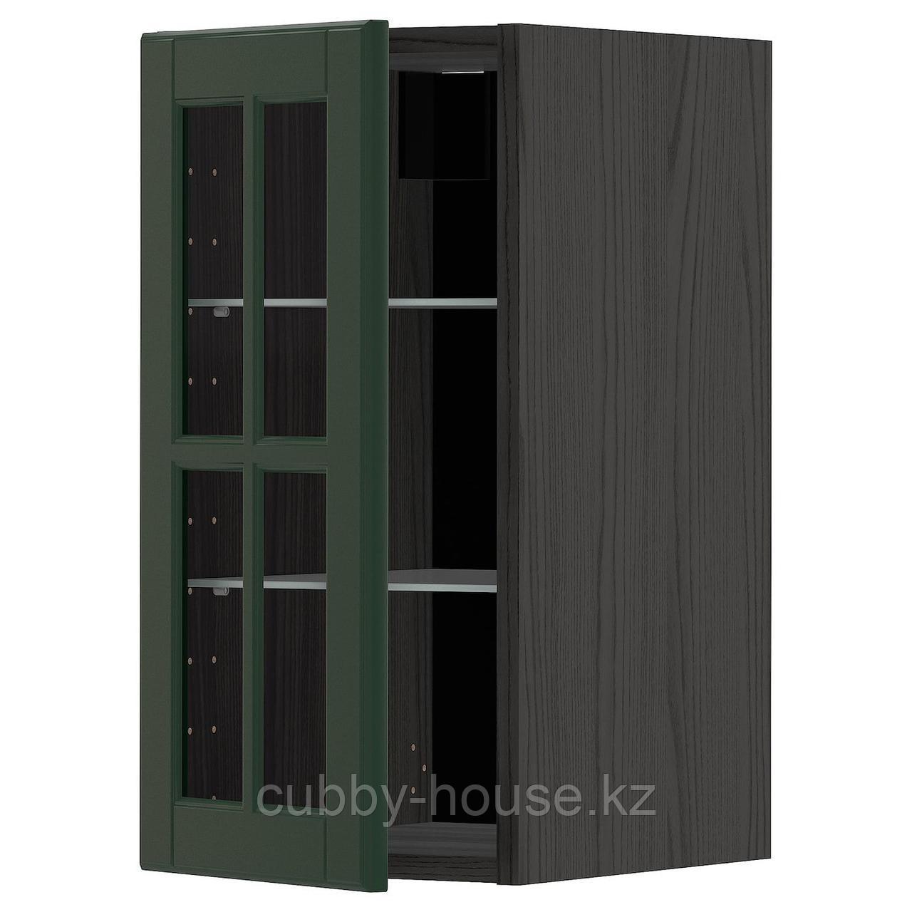 МЕТОД Навесной шкаф с полками/стекл дв, белый, Будбин темно-зеленый, 30x60 см