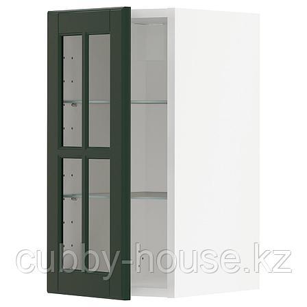 МЕТОД Навесной шкаф с полками/стекл дв, белый, Будбин темно-зеленый, 30x60 см, фото 2