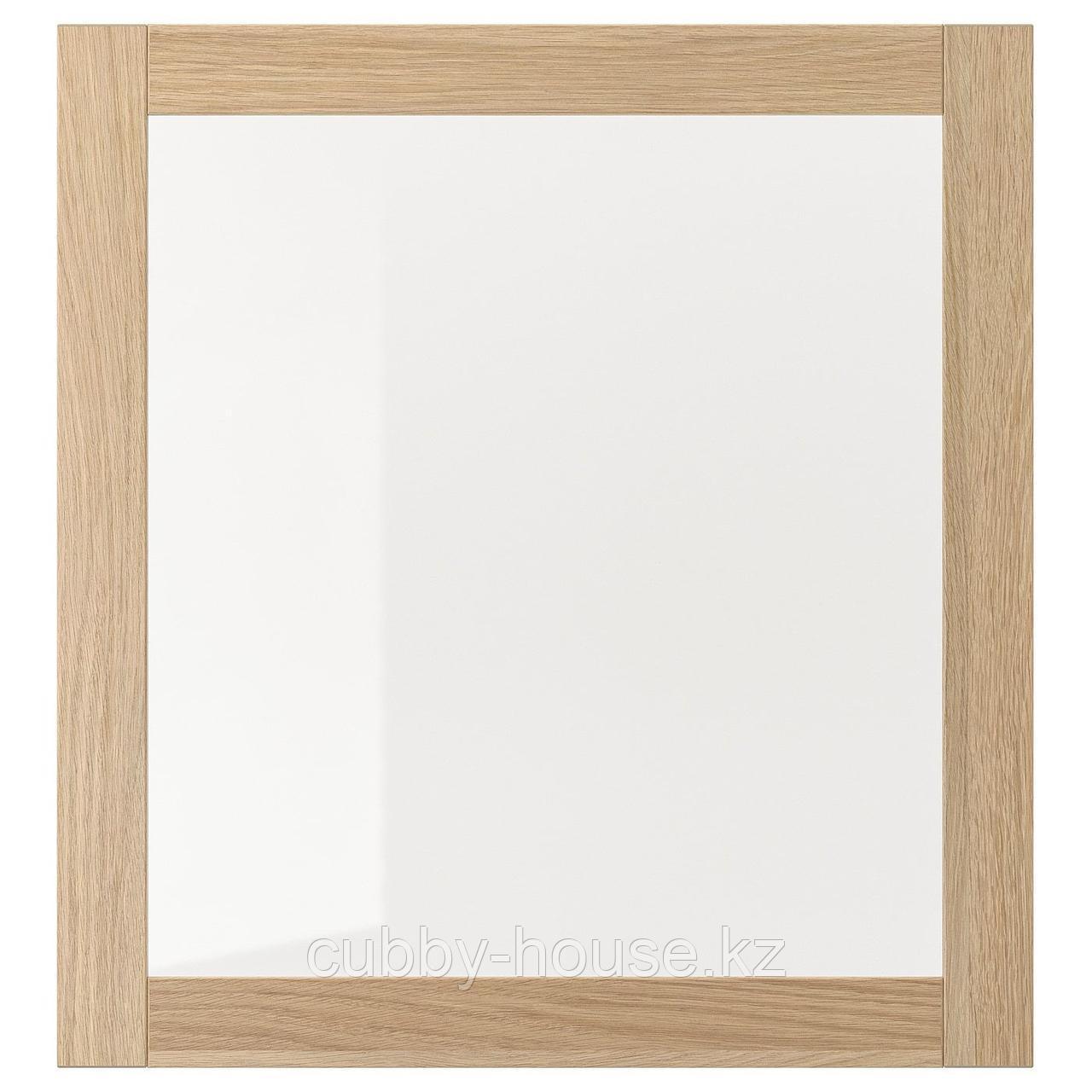 СИНДВИК Стеклянная дверь, белый, прозрачное стекло, 60x64 см