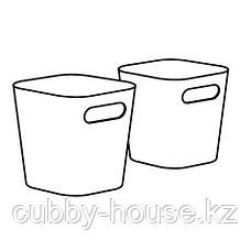 ГЕССАН Контейнер, белый, 10x10x10 см, фото 2