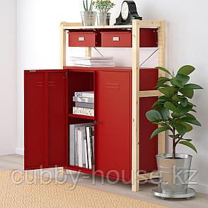 ИВАР Стеллаж со шкафами/ящиками, сосна красный, 89x30x124 см, фото 2