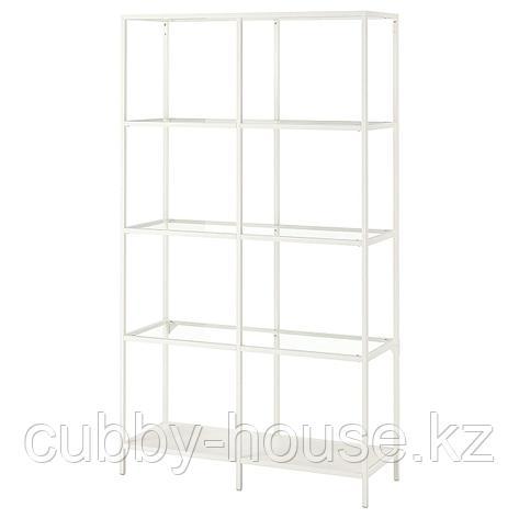 ВИТШЁ Стеллаж, черно-коричневый, стекло, 100x175 см, фото 2