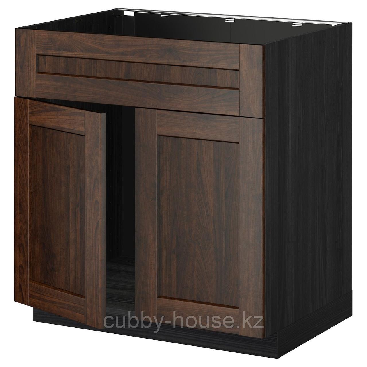 МЕТОД Напольн шкаф п-мойку 2 двр/фрн пнл, белый, Будбин серый, 80x60 см