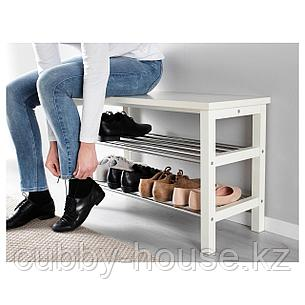 ЧУСИГ Скамья с полкой для обуви, белый, 81x50 см, фото 2
