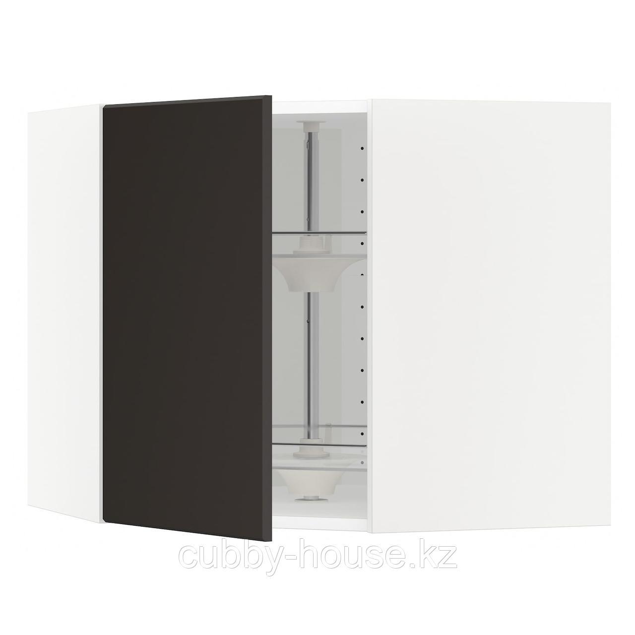 МЕТОД Угл нвсн шкф с вращающ секц, черный, Кунгсбакка антрацит, 68x60 см