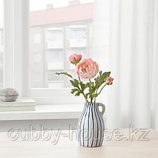 ГОДТАГБАР Ваза, керамика белый/синий, 14 см, фото 3