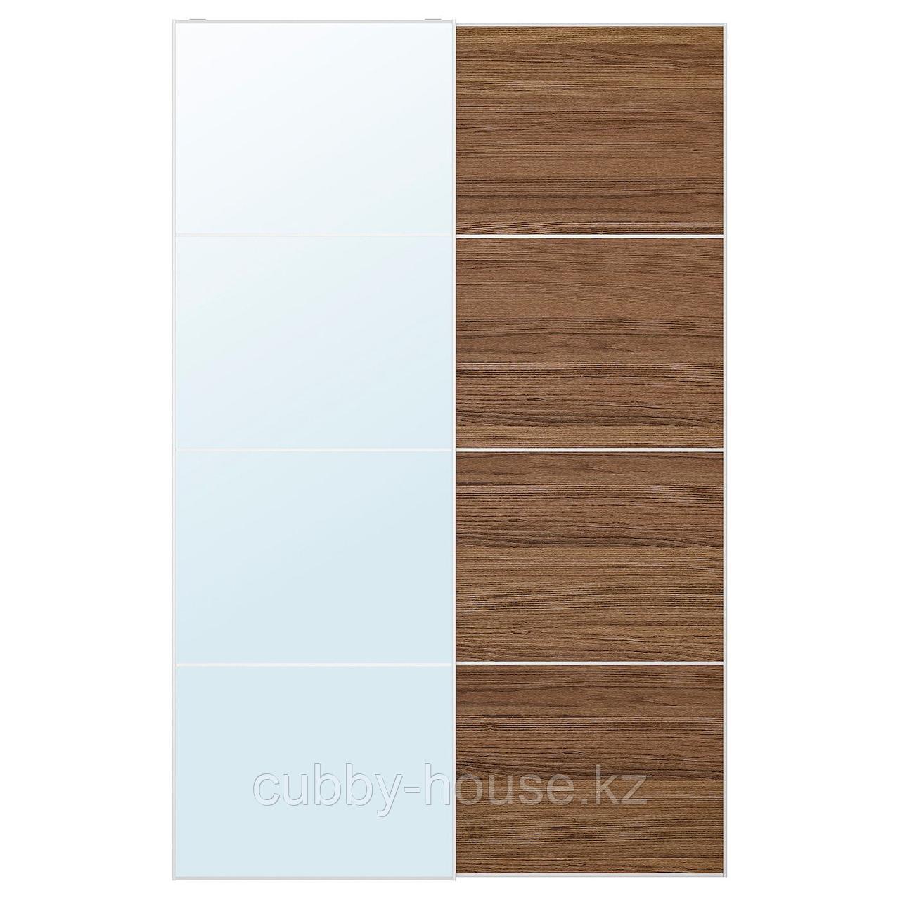 АУЛИ / МЕХАМН Пара раздвижных дверей, зеркальное стекло, под коричневый мореный ясень, 200x236 см
