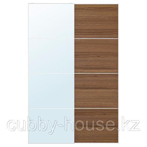 АУЛИ / МЕХАМН Пара раздвижных дверей, зеркальное стекло, под коричневый мореный ясень, 200x236 см, фото 2