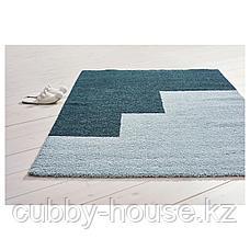 КОНГСТРУП Ковер, длинный ворс, голубой, зеленый, 133x195 см, фото 3