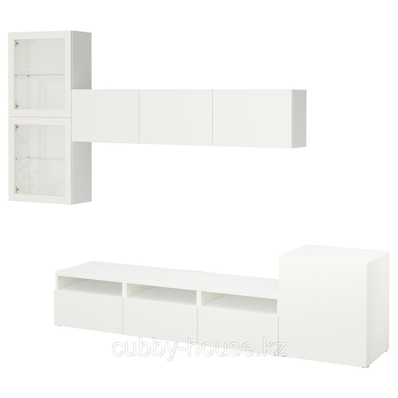 БЕСТО Шкаф для ТВ, комбин/стеклян дверцы, белый, Нотвикен серо-зеленый прозрачное стекло, 300x42x211 см