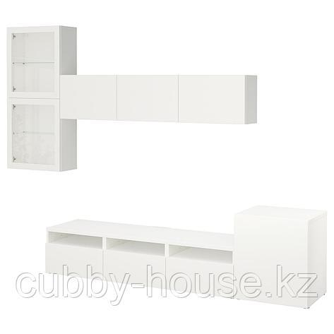 БЕСТО Шкаф для ТВ, комбин/стеклян дверцы, белый, Нотвикен серо-зеленый прозрачное стекло, 300x42x211 см, фото 2